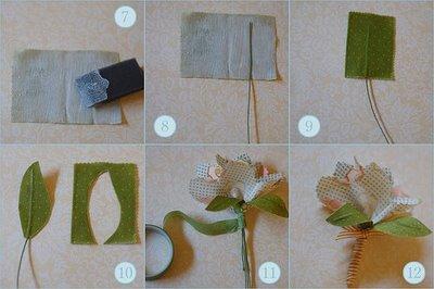 como hacer flores de tela 3